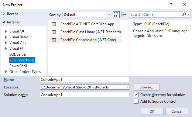 Get Started @ PeachPie   PHP compiler to  NET